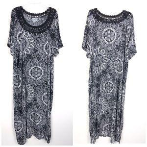 Catherines Women's Floral Crochet Maxi Dress TK